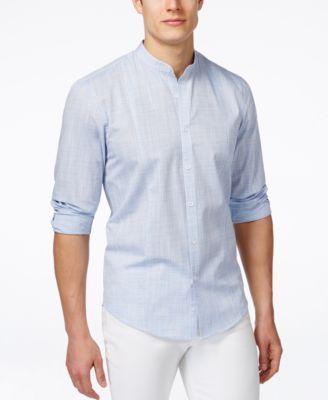 75dd4ceb1d1 Alfani Men s Warren Banded-Collar Long-Sleeve Shirt