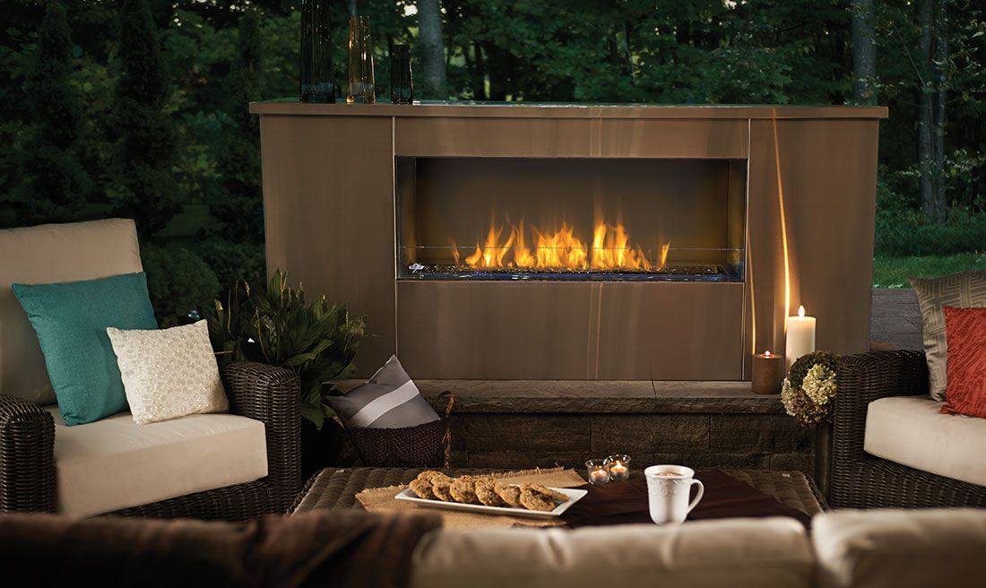 The Napoleon Galaxy Outdoor Gas Fireplace is truly unique with a linear, sleek modern design adding to the excitement of outdoor living. Find Out More.