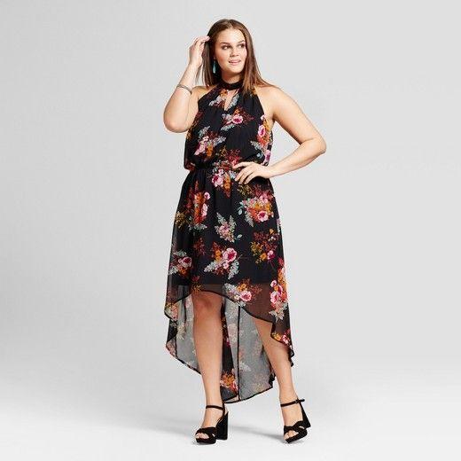women's plus size floral printed hi lo high neck dress : target