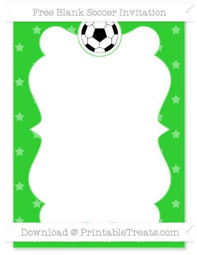 free lime green star pattern blank soccer invitation | soccer, Invitation templates