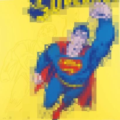 after Andy Warhol: Superman, from Myths Prints and Multiples 'The Paintings coming out of the Printer' #Important #Australian and #International #Contemporary #Art    (113 x 113)cm printed onto Hahnemuhle 100% Cotton rag paper, canvas/linen, or pexiglass.  lm福 AD 0406'15