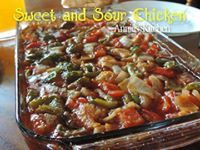 ✿´¯`* *¸¸✿ SHARE to SAVE ✿´¯`* *¸¸✿  Mmmmmm..... Yummy and super easy!!!!  SWEET & SOUR CHICKEN ...  4 chicken breast ( cut into bite sized pieces) 1 cup flour 1/2 tsp black pepper 1 tsp seasoning salt. I did BBQ chicken 1 egg ( beaten) 1 red bell pepper, sliced 1 green bell pepper, sliced 1 onion, sliced  Mix flour with pepper and seasoning salt. Dip Chicken in eggs and then flour, fry it until nice golden. Place in a 9by13 baking dish. Place veggies onto of chicken. Pour sweet and sour ...