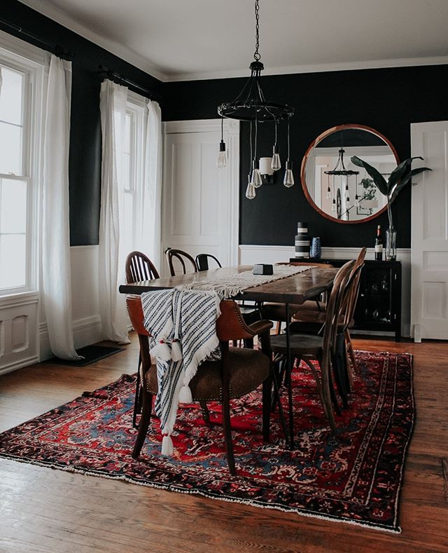 Pin By Micaela Kinsey On Home Is Where The Heart Is Making Our Old Home Cozy Comfortable Ecclectic A Little Bit Modern Eclectic Dining Room Black Dining Room Home