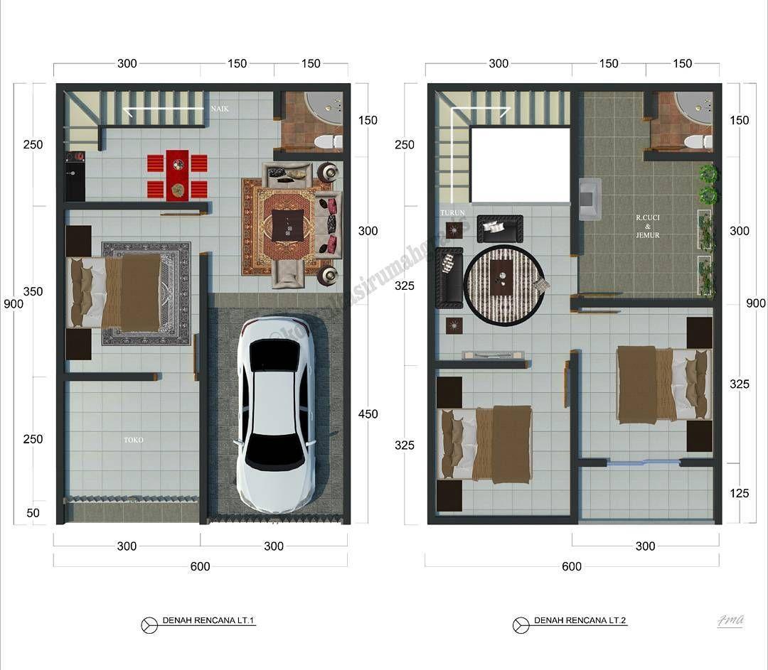 Denah Rumah Minimalis Type 36 2 Lantai Terbaru di 2019 ...