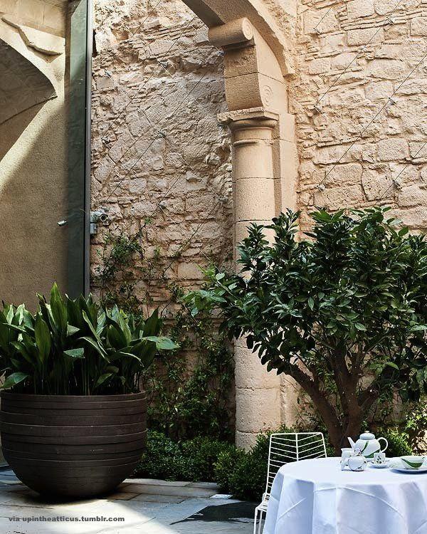 Coffee on the terrace at the mercer hotel restaured gothic building in barcelona spain - Gaston y daniela barcelona ...