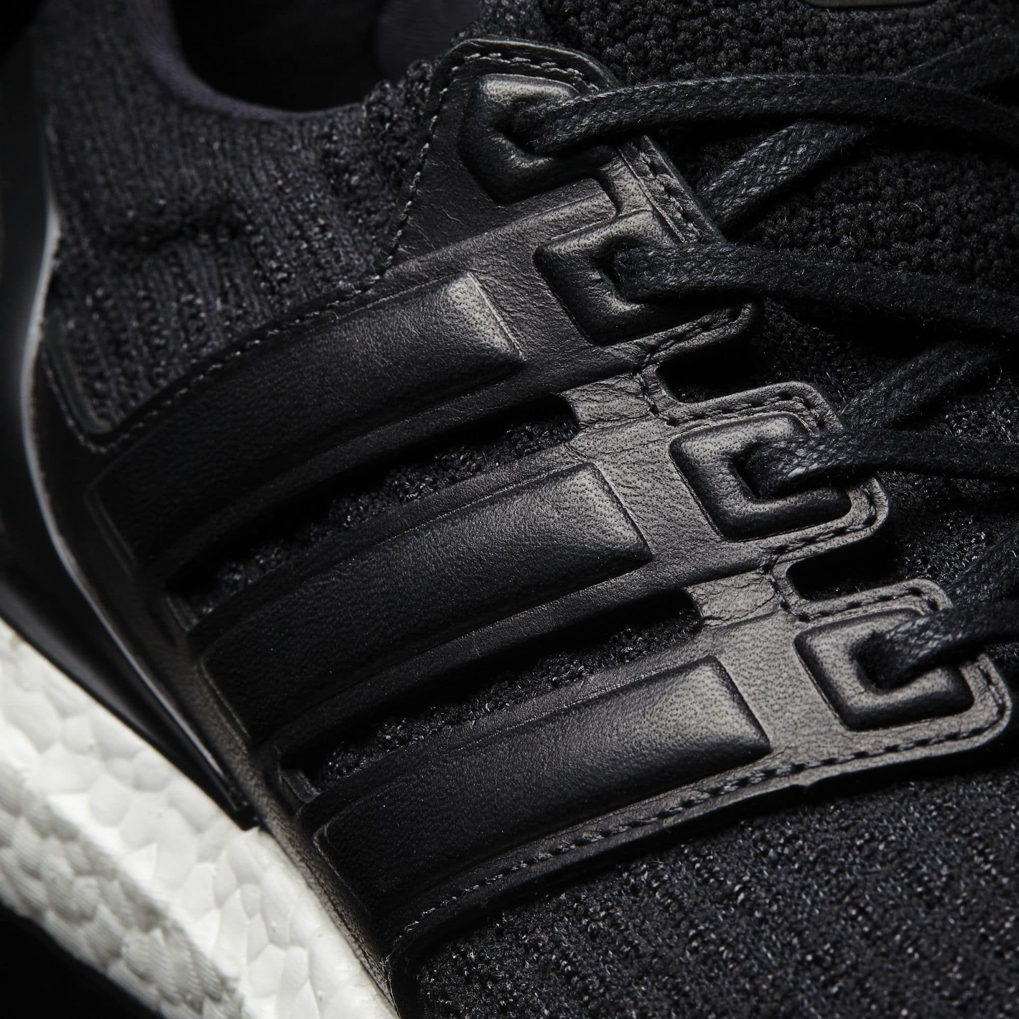save off 58a2e 6d9f9 Black Adidas Ultra Boost Leather Cage BA8924 Detail