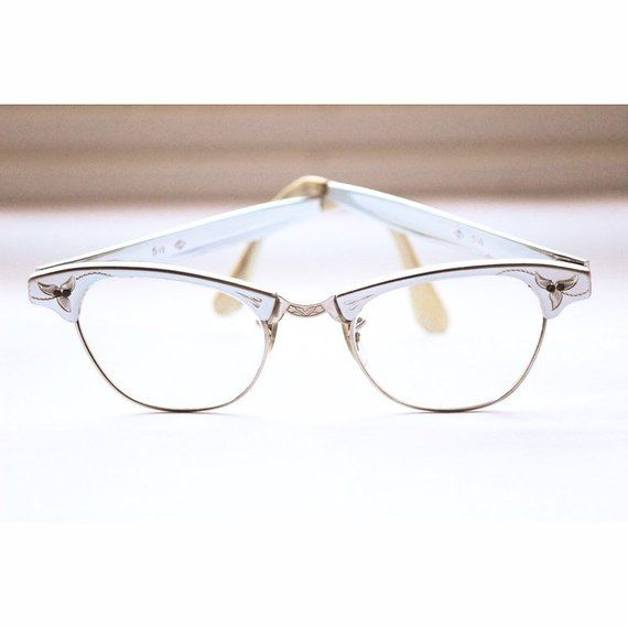 4b54633db785 Item  Vintage Cat Eye Glasses with Prescription Glass Lenses 12K Gold  Filled Aluminum Etched Frame with Leaves Brand  C with a Diamond around it.