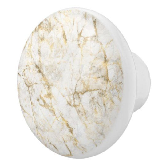 Luxury Gold and White Marble Ceramic Knob | Elegant, trendy white and gold marble texture ceramic knob.