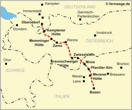 Die Karte E 5 Europaischer Fernwanderweg Oberstdorf Meran
