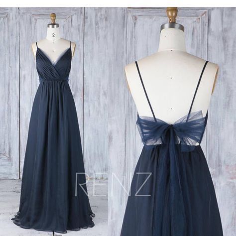Bridesmaid Dress Navy Blue Chiffon Dress Wedding Dress Spaghetti Strap Prom Dress Ruched V Neck Maxi Dress Long A-line Party Dress(H547A)