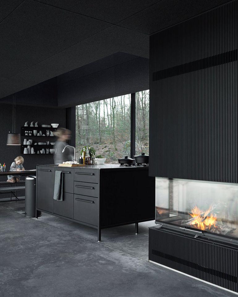 black kitchen, prefab house by Vipp kitchens Pinterest Black