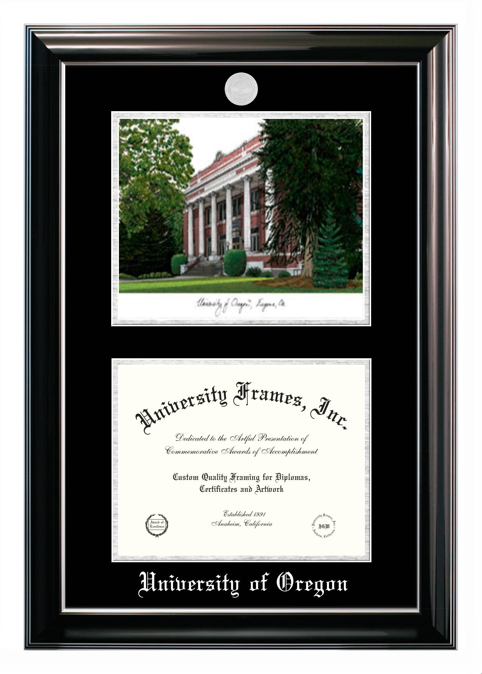 University Of Oregon Diploma Frame With Campus Image Diploma Frame Campus Images Degree Frame