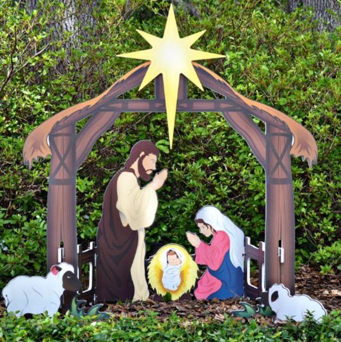 Nativity Yard Decorations | Teak Isle Holy Night Printed Outdoor Nativity  Set - Nativity Yard Decorations Teak Isle Holy Night Printed Outdoor
