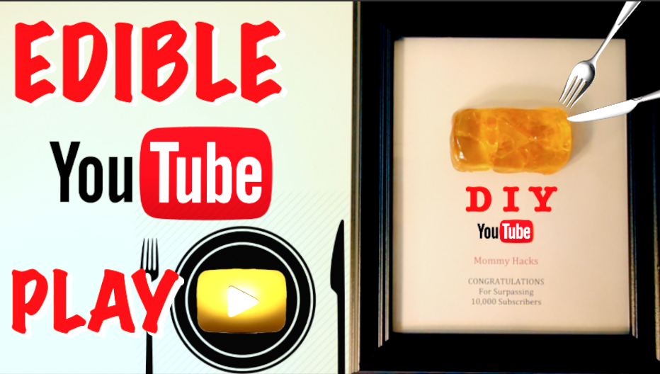 Want A Youtube Gold Play Button Award Learn How To Make Your Own Edible Glass Youtube Play Button Here S Your Opportunity Gold Play Button Play Button Edible
