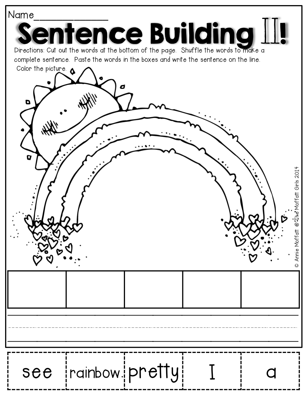 FREEBIES Sentence Building Kits Whimsy Workshop Teaching – Kindergarten Sentence Worksheets
