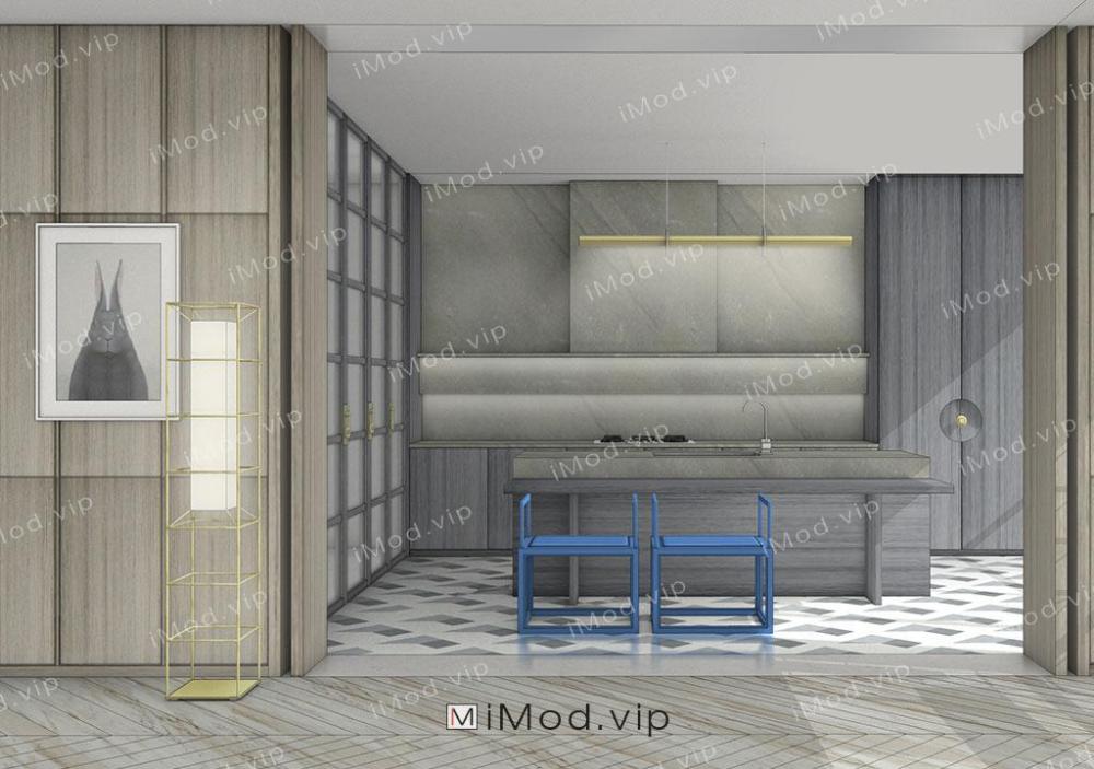 Yabu Van Yue stylized kitchen Sketchup 3D Model iModNext