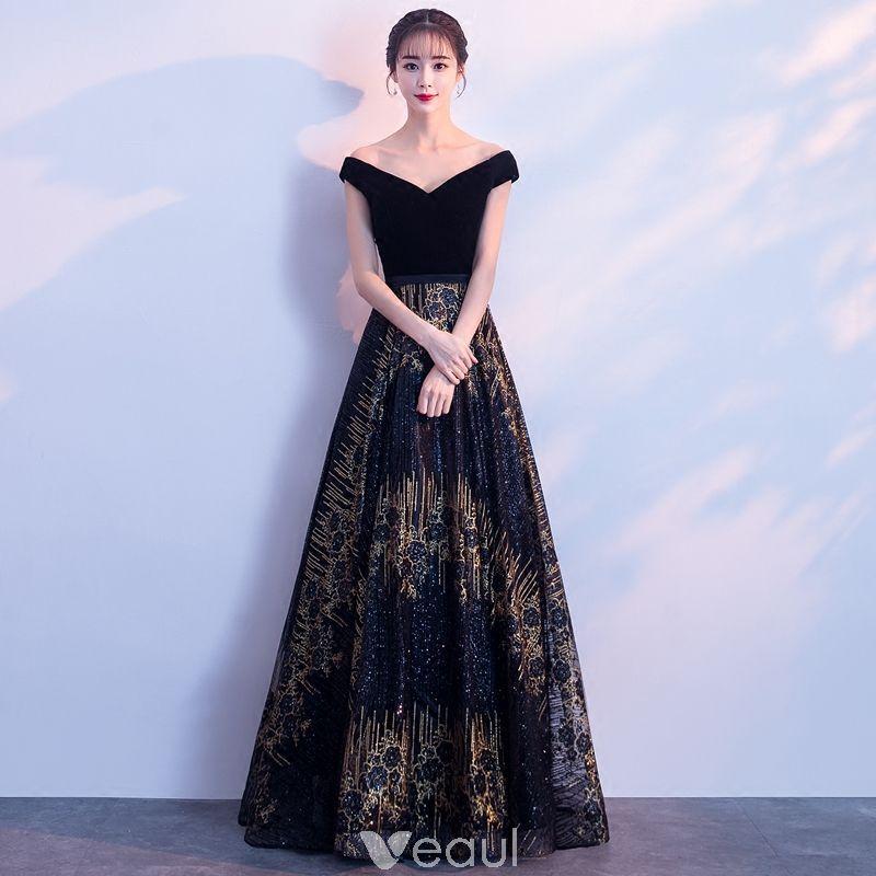 Bling Bling Navy Blue Evening Dresses 2018 A-Line   Princess V-Neck Short  Sleeve Gold Glitter Tulle Floor-Length   Long Backless Formal Dresses bd21bc63081d