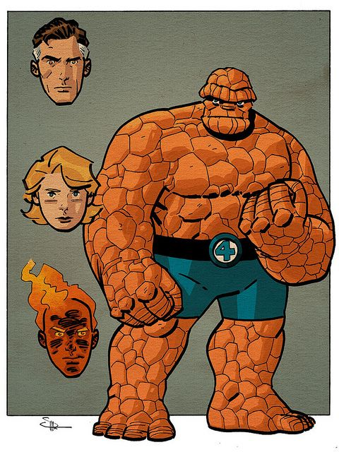 """Evan """"Doc"""" Shaner takes a nice cartoony look at Ben Grimm and the FF in this illustration."""