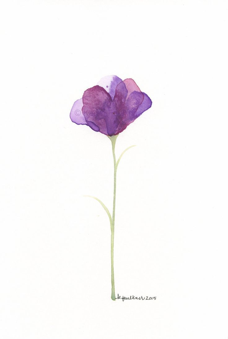 Original Watercolor Painting Of An Abstract Purple Flower Fleur Violette By K Watercolor Flowers Violet Flower Tattoos Violet Tattoo