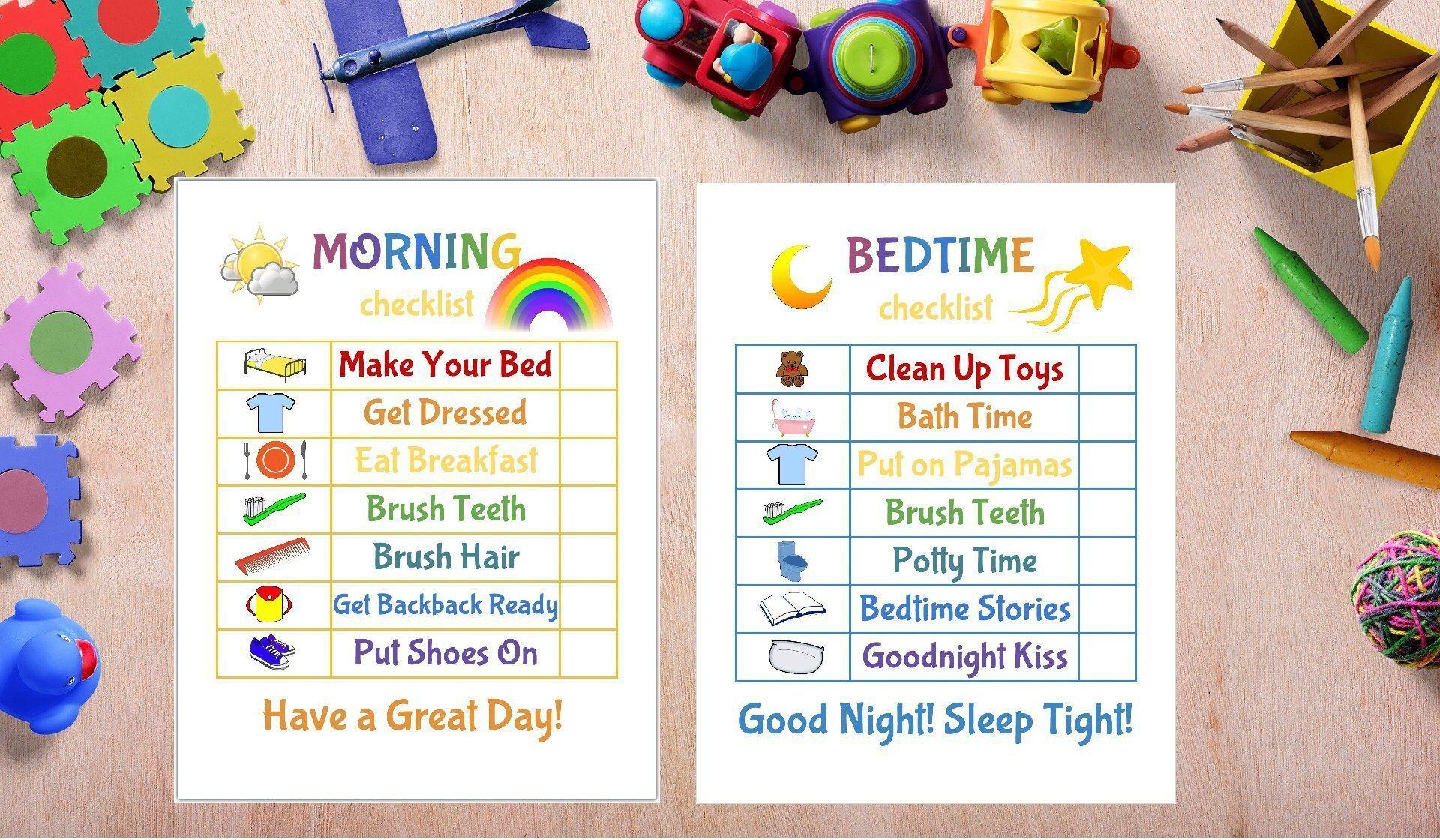 Kids Morning Bedtime Checklist Printable