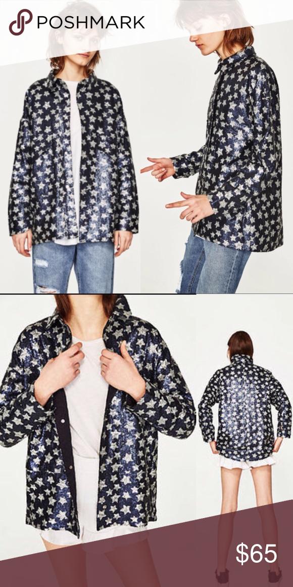 6b47bbae ZARA STAR SEQUINED STAR BLUE SILVER JACKET Zara Sequinned Stars Jacket Size  Medium Condition: New
