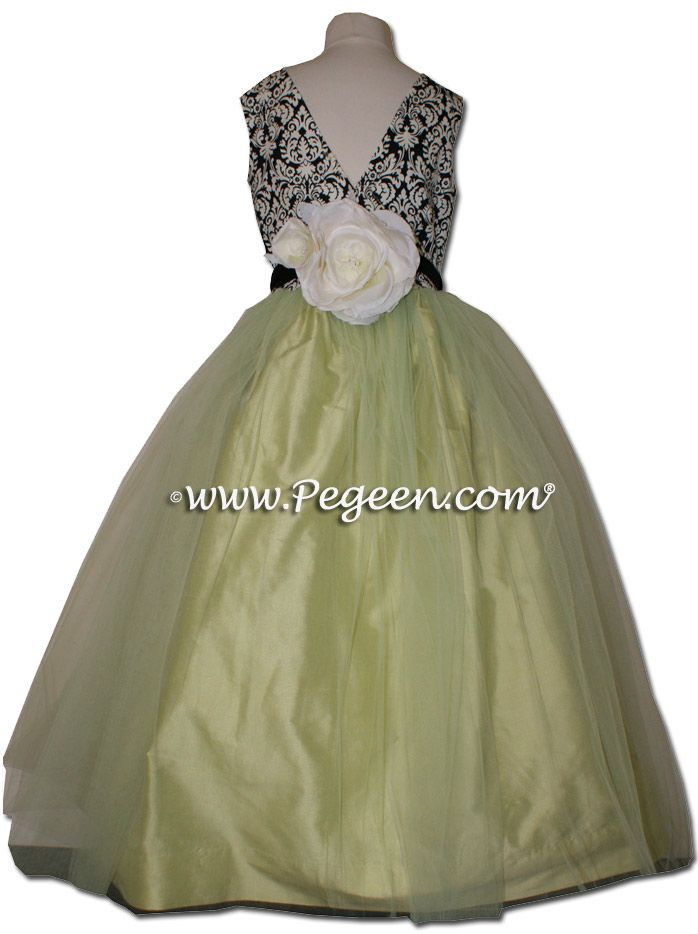 BLACK AND WHITE DAMASK WITH CITRUS tulle junior ...