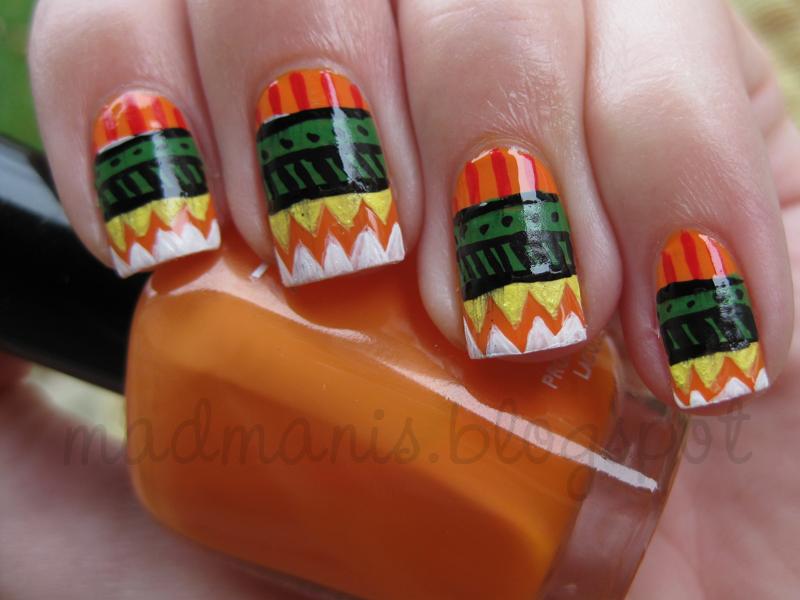 easy tribal nails nail art design in orange green yellow white black ...