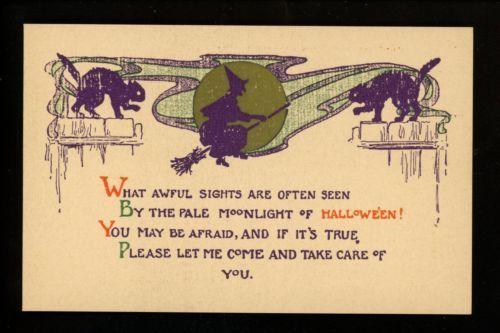 Halloween-Postcard-EvErett-Exclusive-Studios-EV1-6-black-cat-witch-Vintage