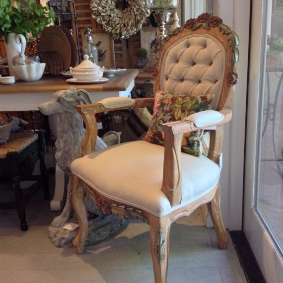 Gorgeous Antique Floral Carved French Country by FMFCompagnie