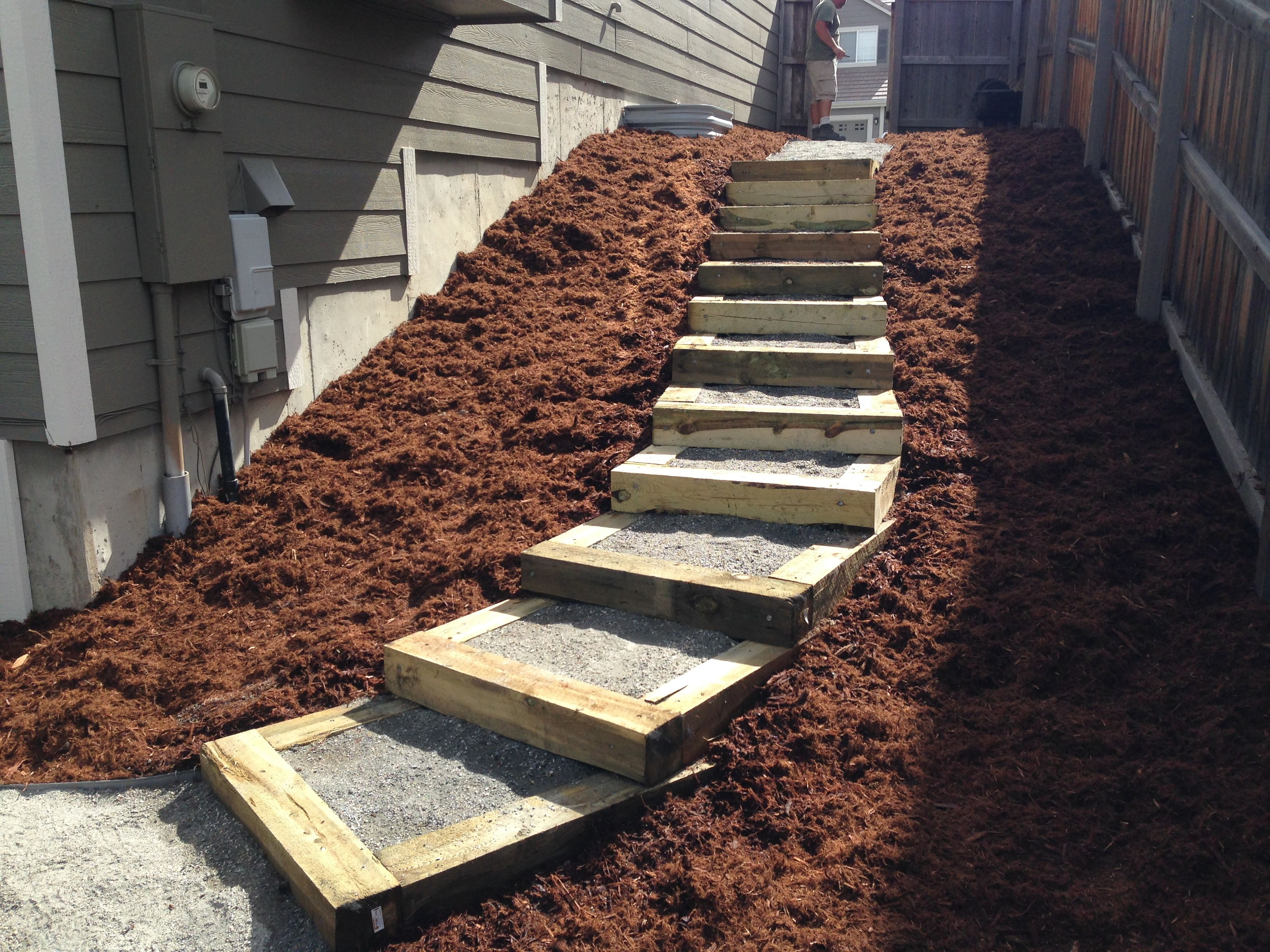 Simple Timber Stairs Are Easy To Design But Rebar And Spikes Are Tough To Pound Built By Glacier View Landscape De Hardscape Landscape Design Dream Garden