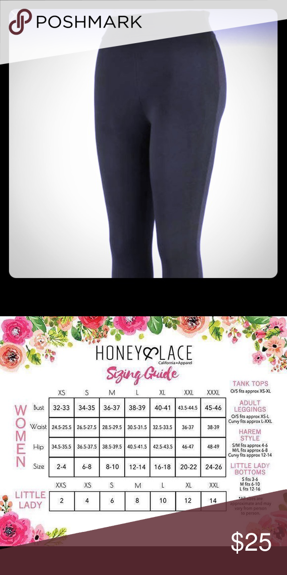 162df512d91f4d Black Laguna Honey & Lace/Piphany Leggings Black Laguna Piphany/Honey &  Lace Leggings. Yoga Band. See size chart. Honey and Lace Pants Leggings