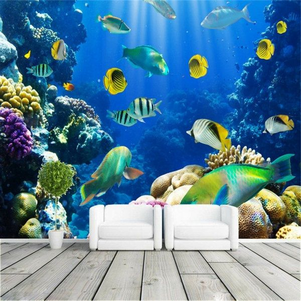 Wall decoration living underwater two armchairs