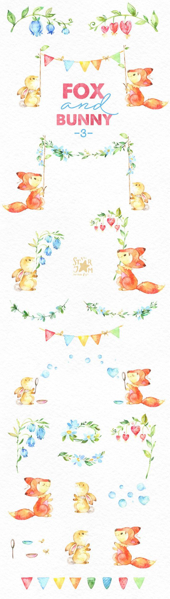 Fox and Bunny 3. Watercolor animal clipart, flowers