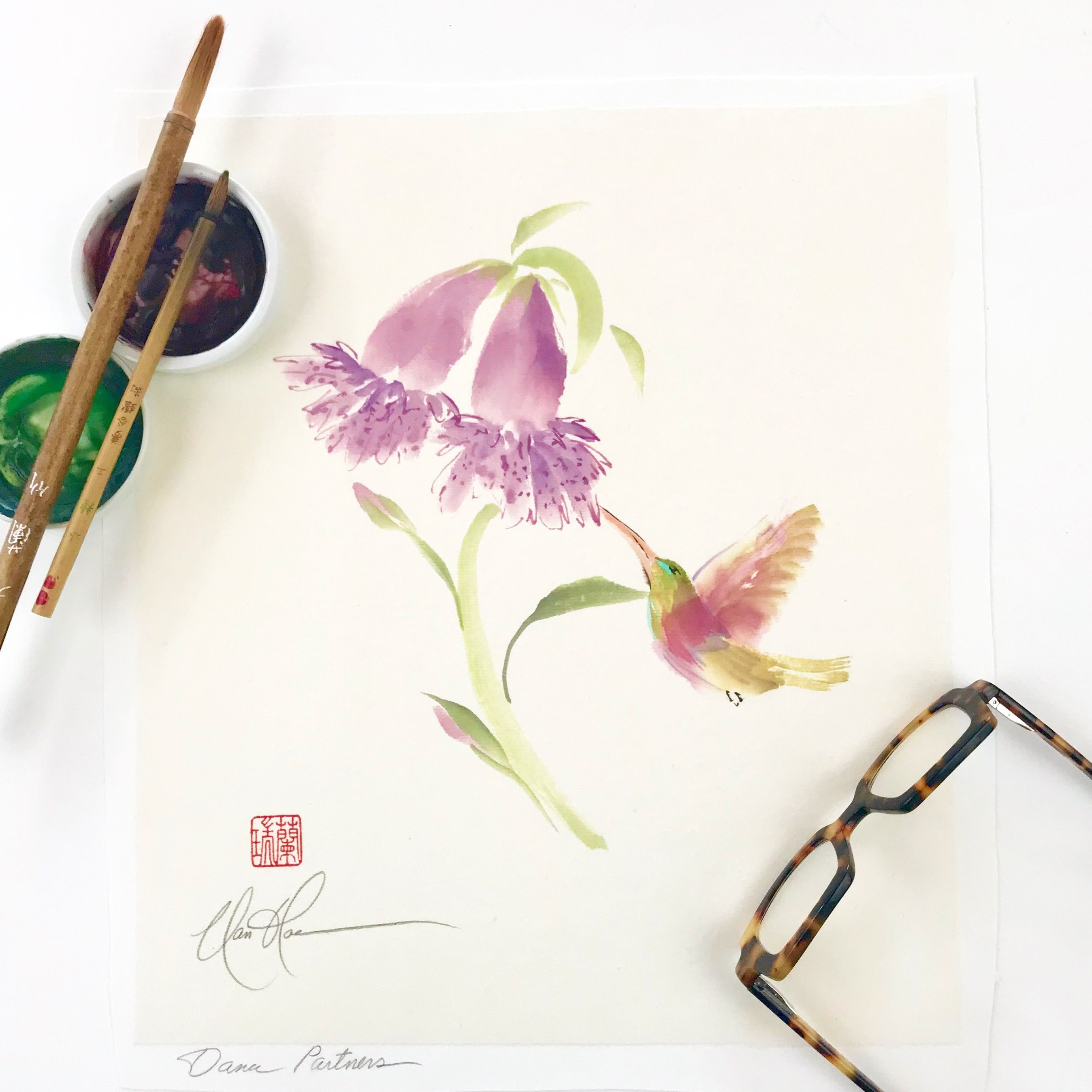 Original Foxglove And Hummingbird Painting By Nan Rae