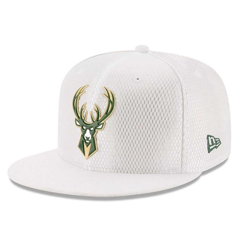 733d96f56b7 Milwaukee Bucks New Era 2017 NBA Draft Official On Court Collection 59FIFTY  Fitted Hat - White