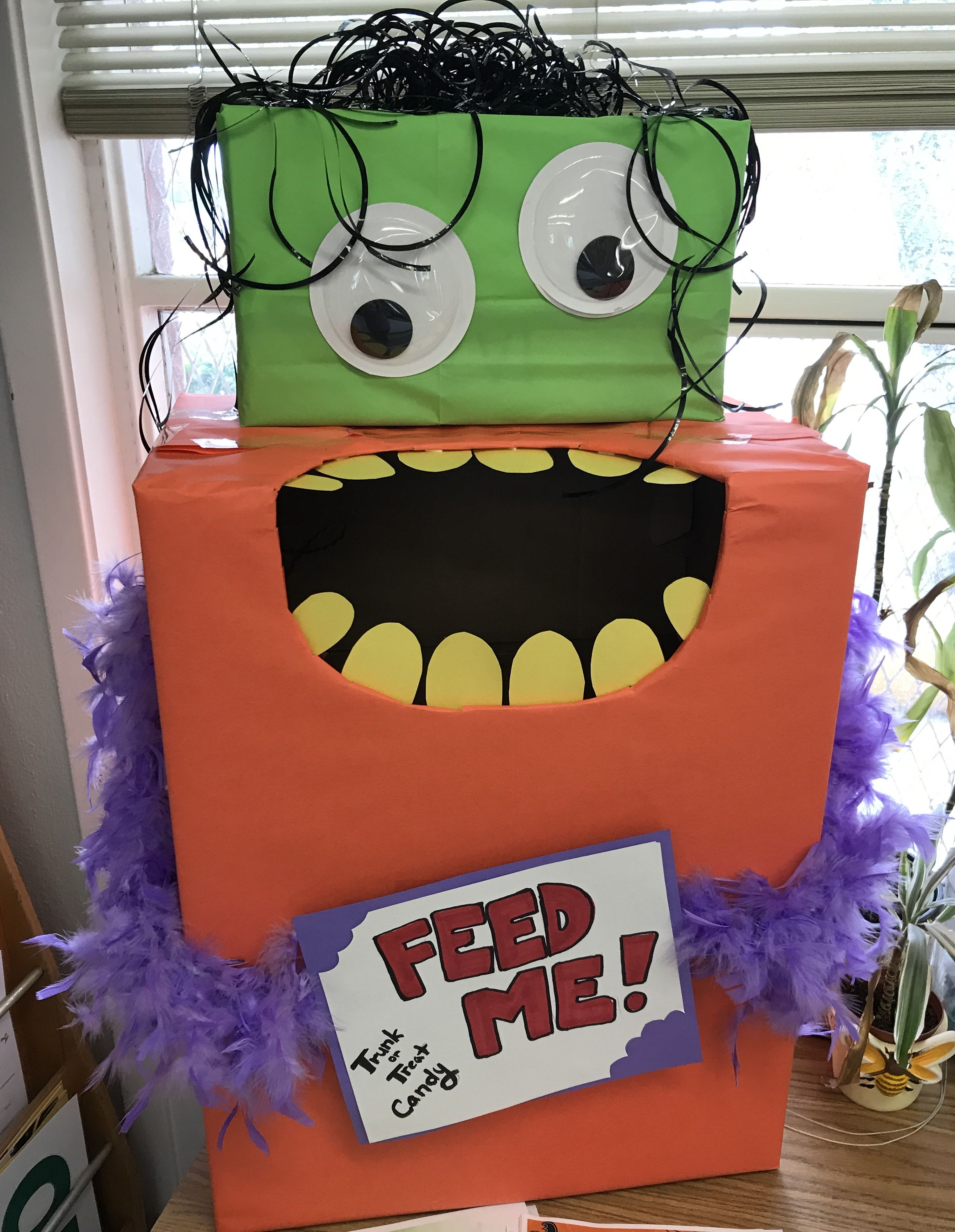 Monster themed donation box for Trunk or Treat candy * He