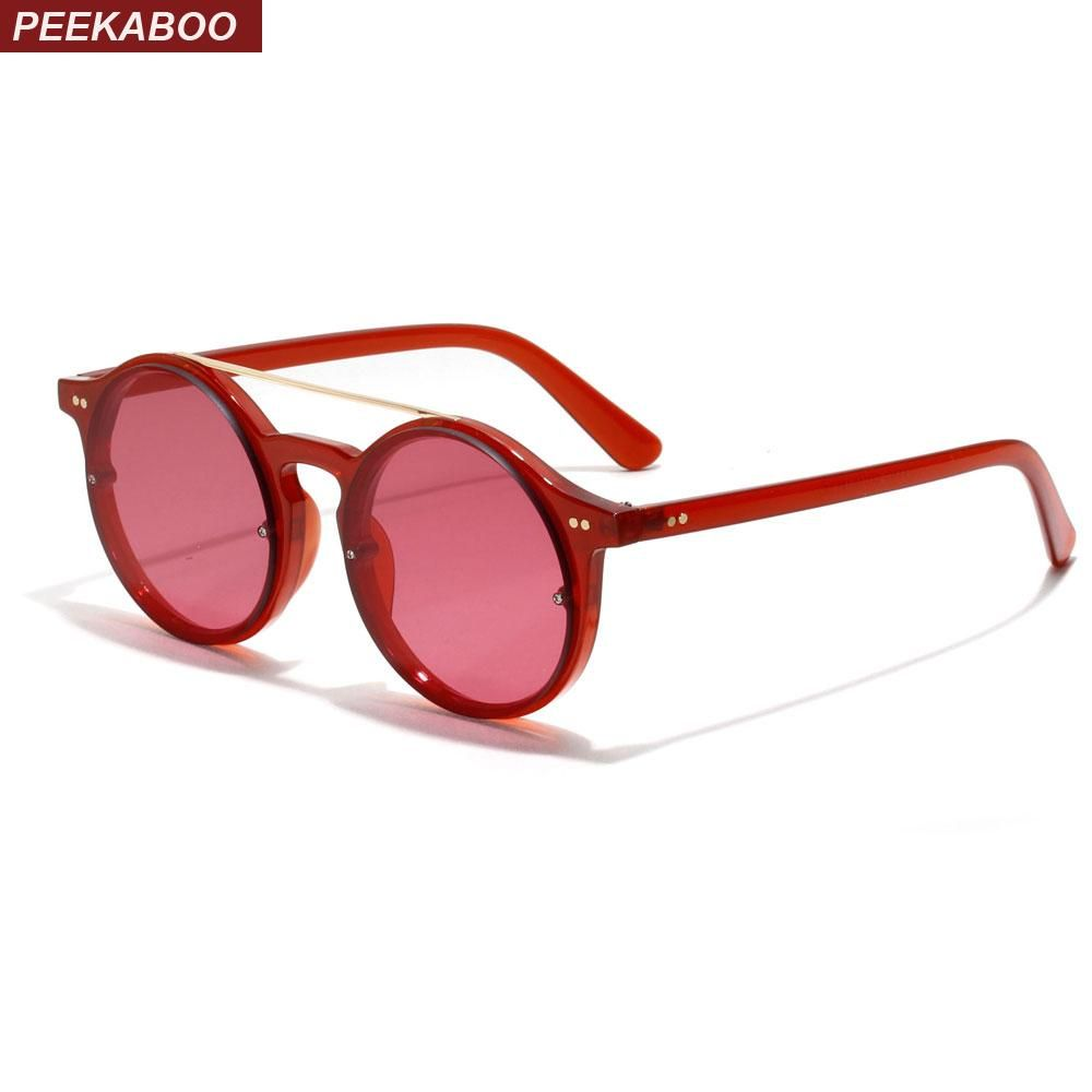 e9cd571aa00 Peekaboo retro round sunglasses women red black pink brown transparent sun  glasses for men round 2018
