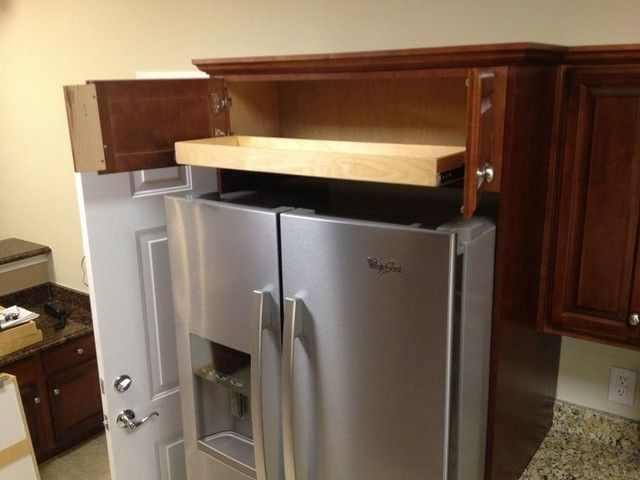 Roll Out Shelf Above Fridge   Access The Cabinet Above Your Refrigerator  With Much More Ease With A Custom Made Roll Out Shelf That Fully Extends.
