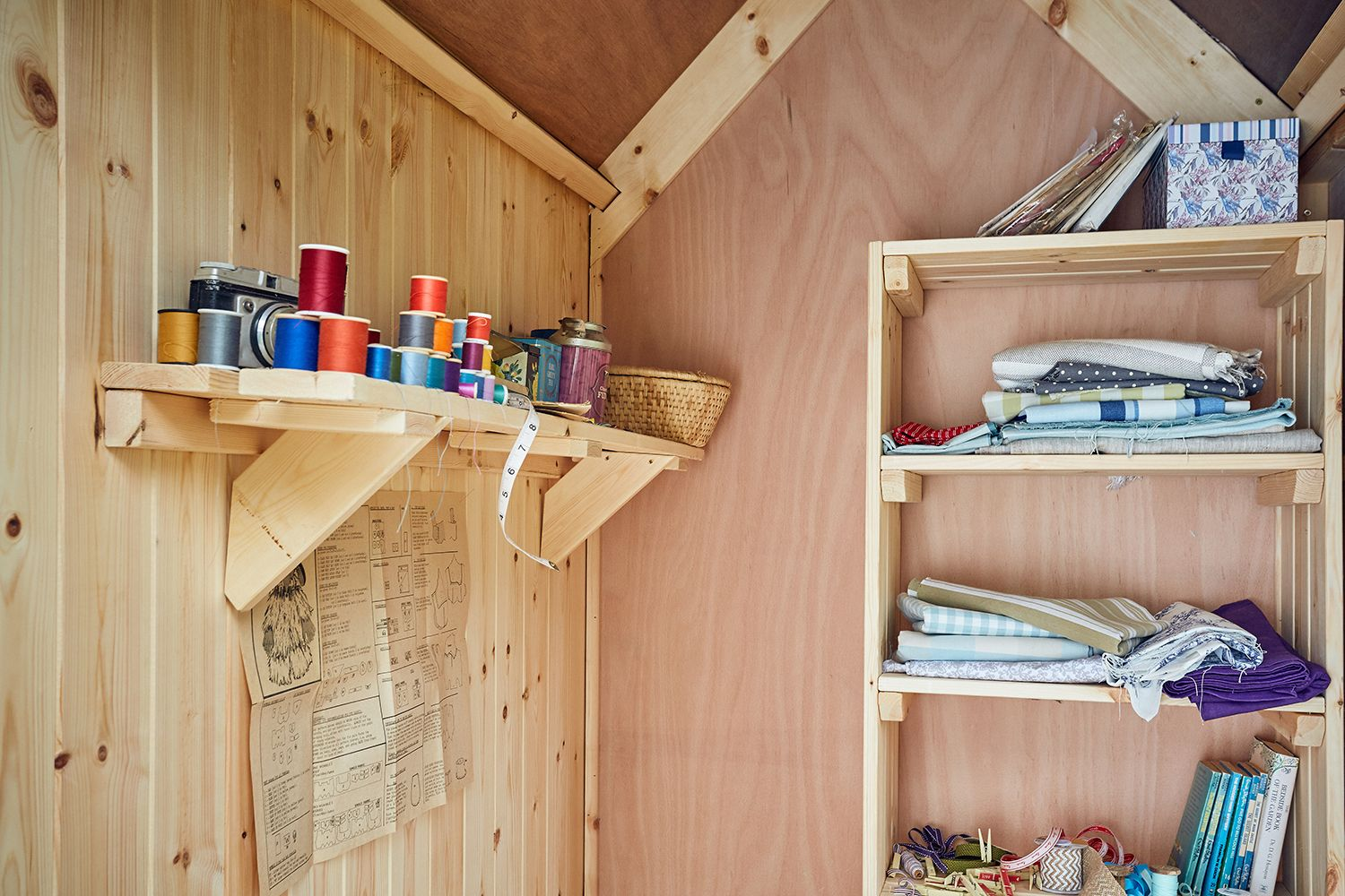 Inside the Unbelievably Posh Shed with TGV and ply lining  Shed