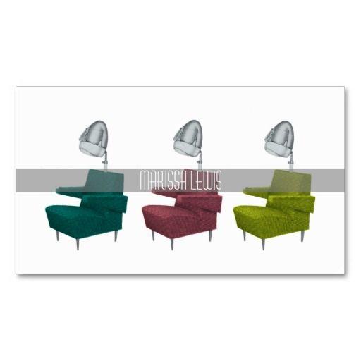 sleek retro vintage salon dryer chair stylist card pinterest
