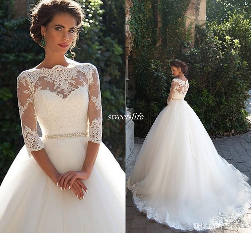 Vintage lace 3 4 long sleeve ball gown wedding dresses for 3 4 sleeve ball gown wedding dress
