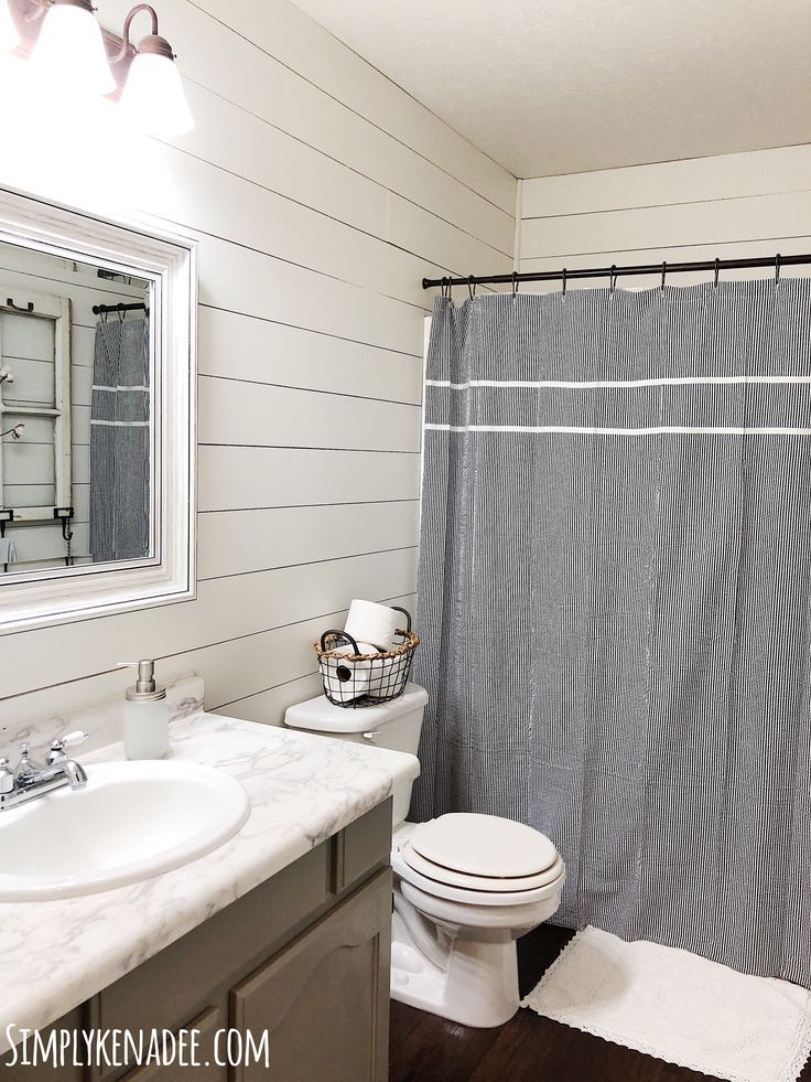 DIY Faux Shiplap Bathroom Shiplap bathroom, Fixer upper