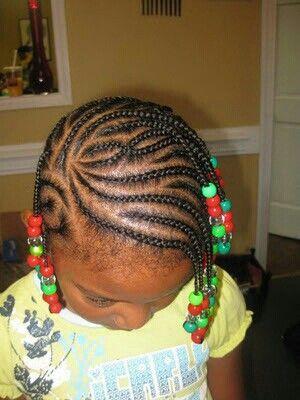 style 4  nattes collées et perles au bout  little girl