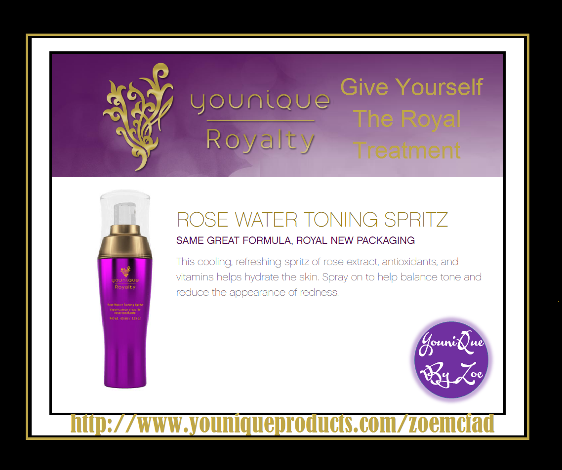 Rose Water Toning Spritz Floral Refresher An invigorating toner with a light and fragranced finish Spritz your way to glowing skin with a gentle, cooling mist. Each spray helps hydrate and soften skin and reduce the appearance of redness. Created with rose extract, antioxidants, and vitamins, the Rose Water Toning Spritz is meant to leave your skin calmed, soothed, and lightly perfumed. Coming Soon #younique #youniqueroyalty #skincare #england #australia #newzealand #canada #beauty #makeup