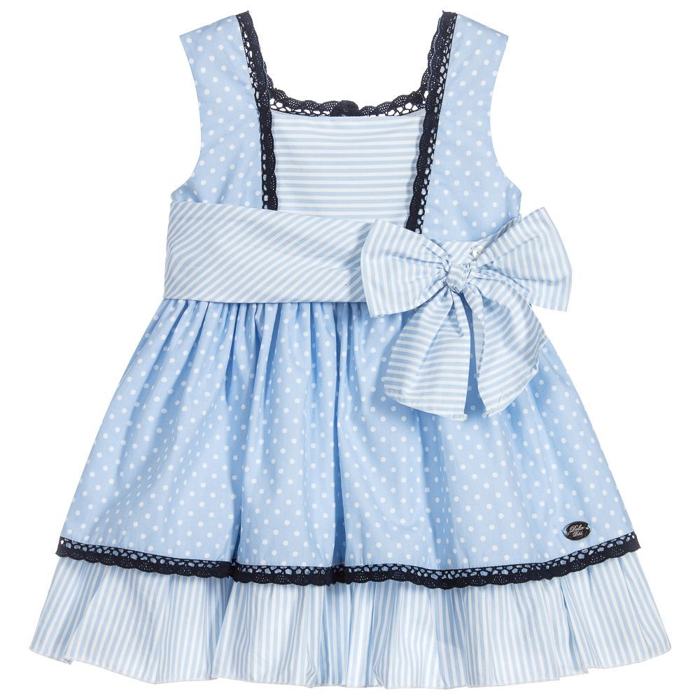2cf81a5b05f0 Girls Blue Polka Dot Dress