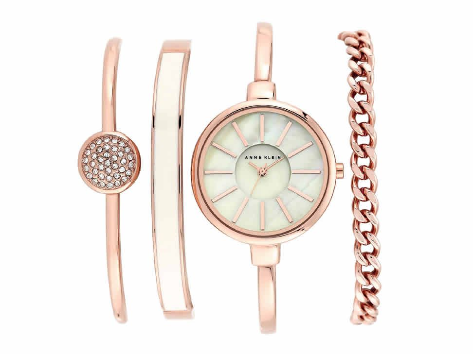 7a588a608d9f Box set reloj para dama Anne Klein White and Rose Gold AK1470RGST en ...