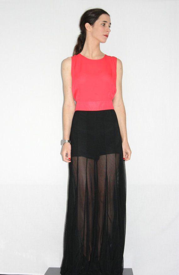 597250cb Vestido / Mono ASOS Largo color Coral y Negro | vestidos | Vestidos ...