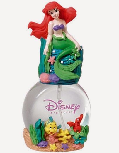 She can be just like mommy with this Disney Little Mermaid Perfume. Ariel sits atop the bottle and Flounder and Sebastian are on the bottom...