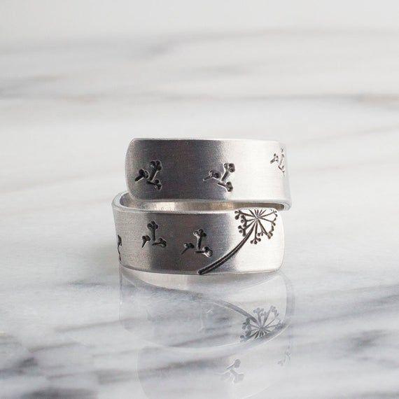 Photo of Aluminum Dandelion Fluff, Handmade Hammered Ring, Wrap Ring, Inspirational Ring, Dainty Jewelry, Motivational Ring, Dandelion Design