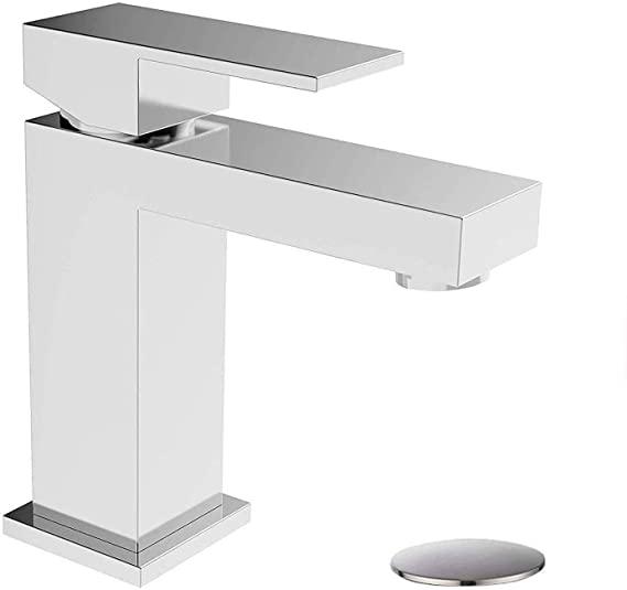 Bathroom Faucet With Pop Up Drain Assembly Solid Brass Alwen Basin Faucet Squ Modern Bathroom Faucets Bathroom Sink Faucets Modern Single Hole Bathroom Faucet
